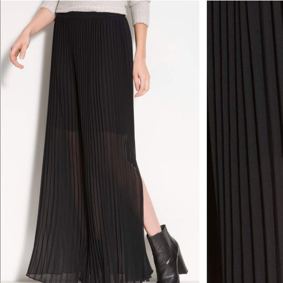 5cedfaa3c Trouve Skirts | Accordion Pleated Maxi Skirt Chiffon Sheer Black ...